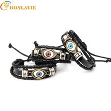New Retro Punk Style Leather Bracelet Ethnic Multilayer Black Adjustable Wrap Bracelet Eye Feather Charm Turkish Jewelry(China)