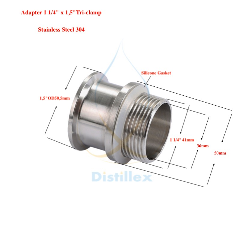 """Adapter 1,5""""OD50,5mm X 1 1/4"""" . Stainless Steel 304 . Length 50mm"""