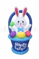 Гигантский 8 футов высокий надувной кролик в корзине с пасхальным яйцом украшение для сада