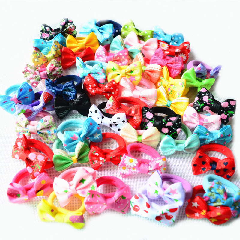 10 Pcs (5 Pairs) Solid Dot Pringting Mini Small Bow Girls' Elastic Hair Ropes Kids Hair Ties Ponytail Holder Accessories PT018