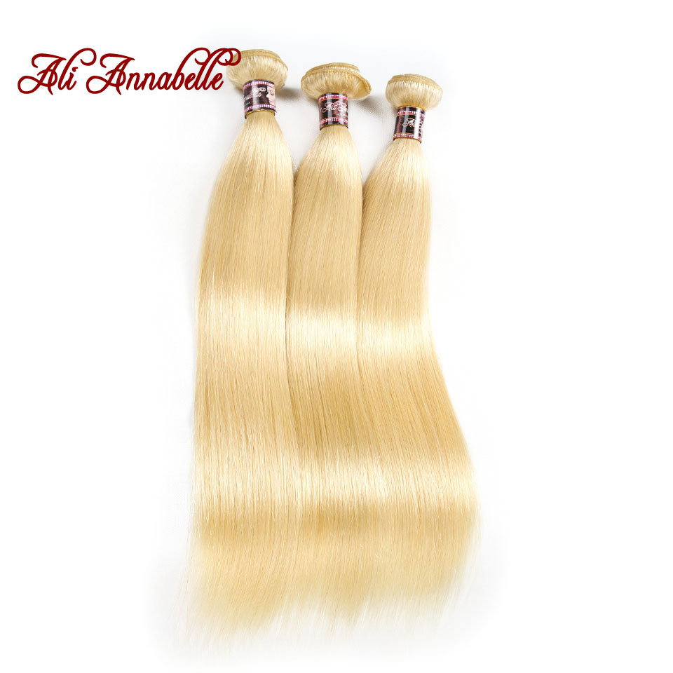 ALI ANNABELLE 613 Blonde Hair Extensions 3PCS Peruvian Hair Weave Bundles Straight Remy Human Hair 10