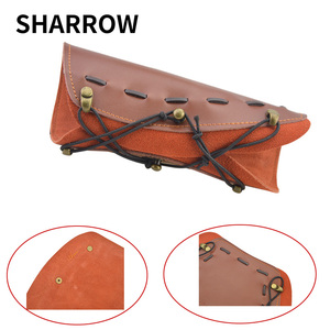 Image 1 - 2pcs Traditional Processed Cowhide Arm Guard Left right Hand Archery Safety Protection Hunting Shooting Protective Gear