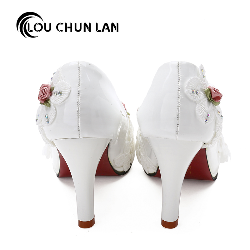 Large size 41 47 Elegant white Wedding Shoes Lace up Flower bridal Shoes  High Heels Women Pumps 8cm 4.5cm 3cm Free Shipping-in Women s Pumps from Shoes  on ... f33b15940b7d