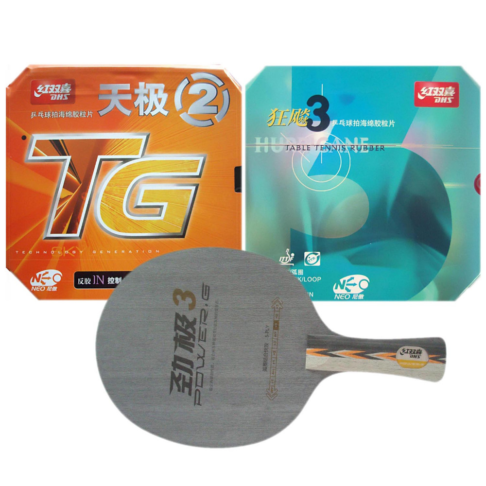 DHS POWER.G3 PG3 PG.3 PG 3 Table Tennis Blade With NEO Hurricane3 and NEO Skyline TG2 Rubber With Sponge Long Shakehand FL hrt 2091 blade dhs neo hurricane3 and milky way 9000e rubber with sponge for a table tennis racket shakehand long handle fl