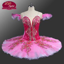 Princess Aurora Professional Ballet Tutu Peach Fairy Classical Costumes Sleeping Beauty Pink Pancake LD0042