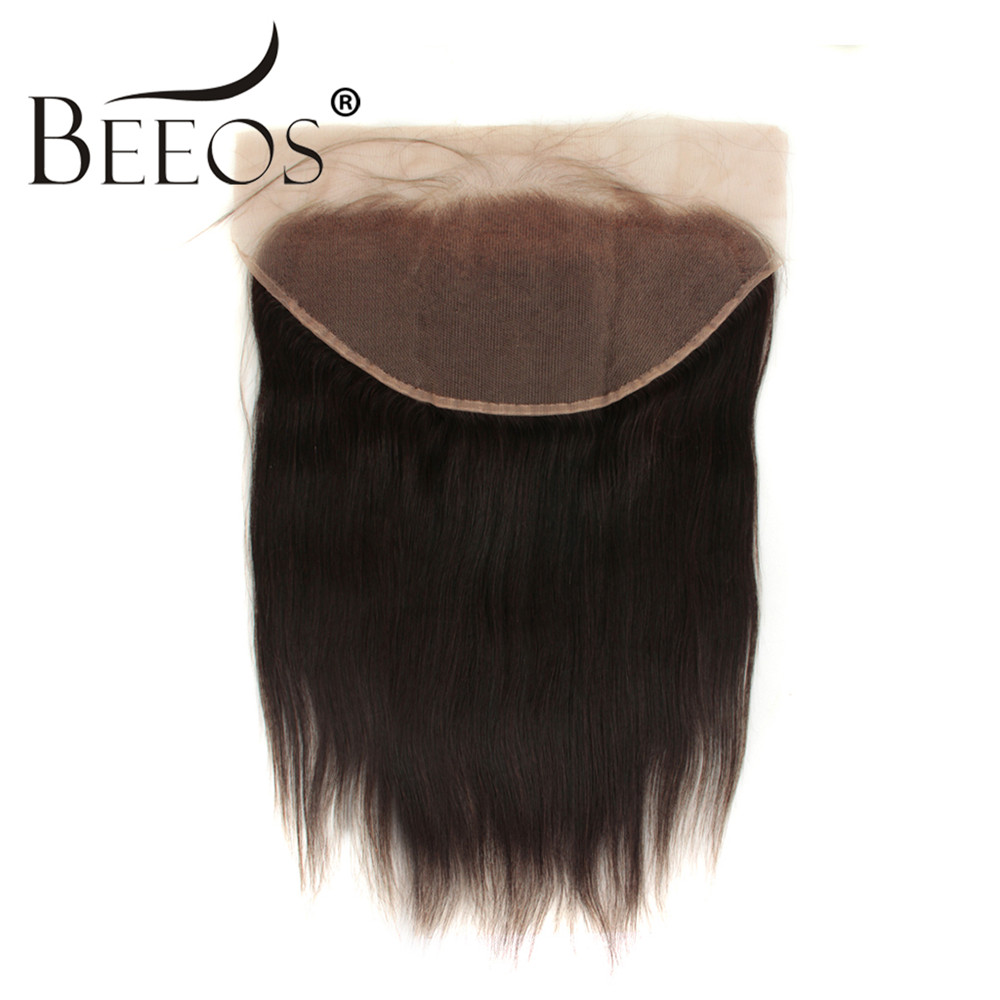 13x6 Deep Parting Straight Lace Frontal Closure Pre Plucked Baby Hair Brazilian Remy Human Hair Lace Frontal Free/Middle Part