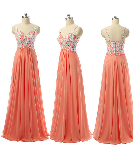 2016 New Formal Coral Long Floor Length Chiffon Lace Bridesmaid Dresses For Wedding With Straps Elegant Wedding Guests Dresses