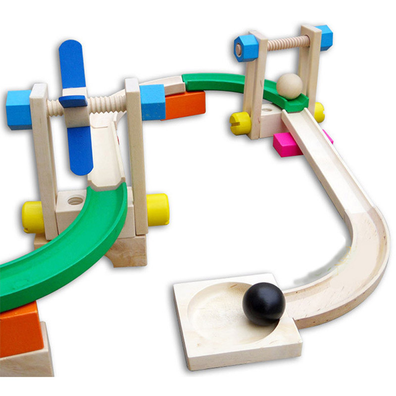 Roller coaster toy 3D blocks wooden toys track blocks educational toys for New Year gift girl and boys solar powered roller coaster model kit educational toy