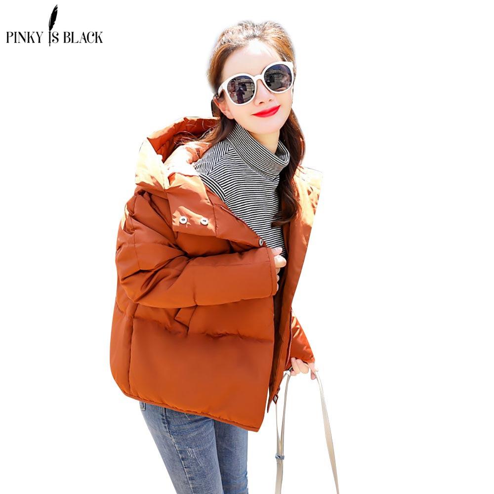 PinkyIsBlack 2019 hooded women winter jacket short cotton padded womens coat autumn casaco feminino inverno solid color parkas