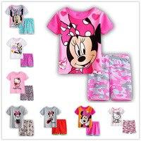2017 Summer KT Minnie Cartoon Mouse Baby Kids Girls Polka Dots Nightwear Pajamas Sleepwear Homewear Children