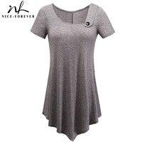 Nice Forever Brief Casual T Shirts Women Summer Short Sleeve Asymmetric Irregular Length Button Stylish Loose