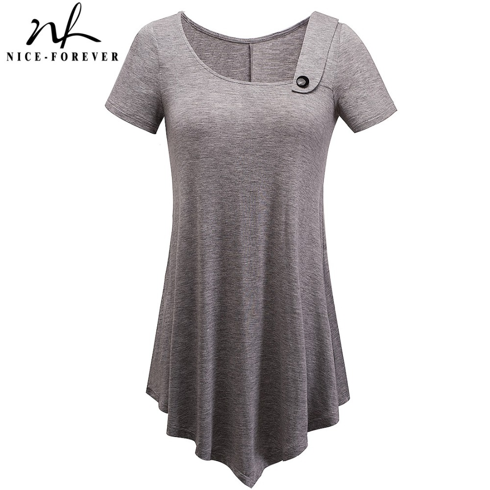 Nice-forever Brief Casual T-shirts Women summer Short Sleeve Asymmetric Irregular Length Button Stylish Loose Tees tops T010