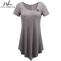Nice Forever Brief Casual T Shirts Women Summer Short Sleeve Asymmetric Irregular Length Button Stylish Loose