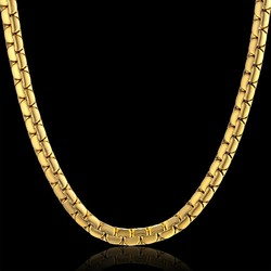 Dropshipping Hip Hop Chain 6mm Gold Color Stainless Steel Necklace Male Wholesale Flat Box Link Womens Mens Chain 20