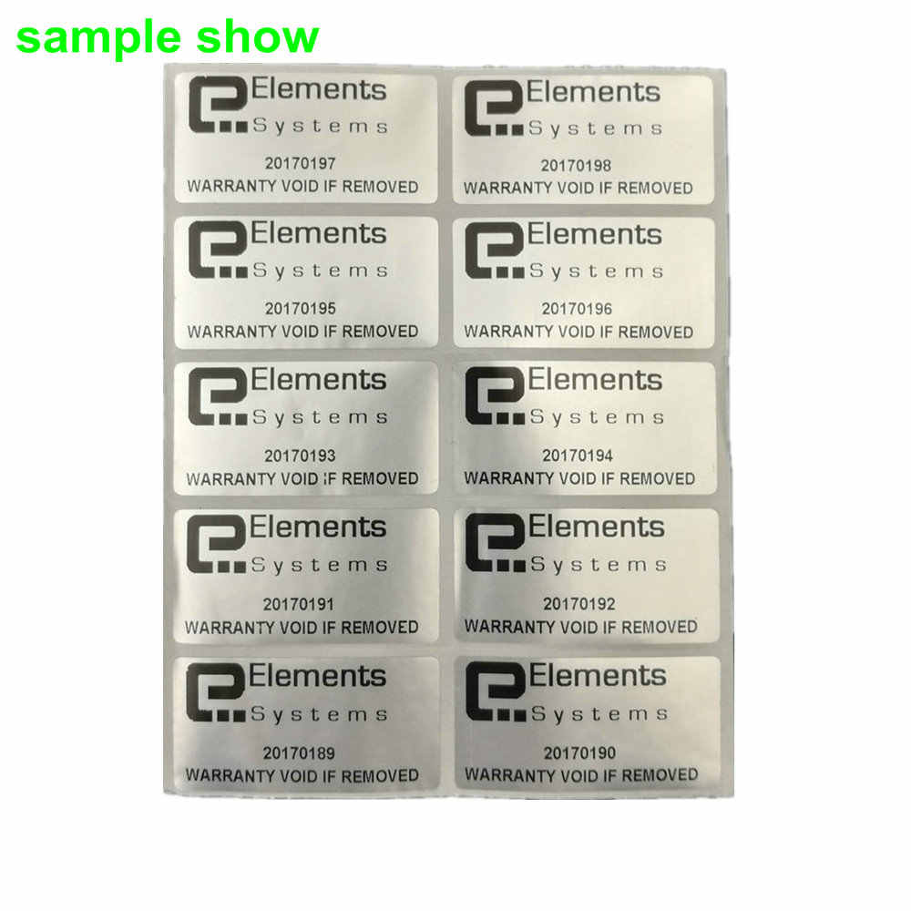 100 silver custom printed tamper proof warranty void labels stickers seals waterproof support french russian spanish many words