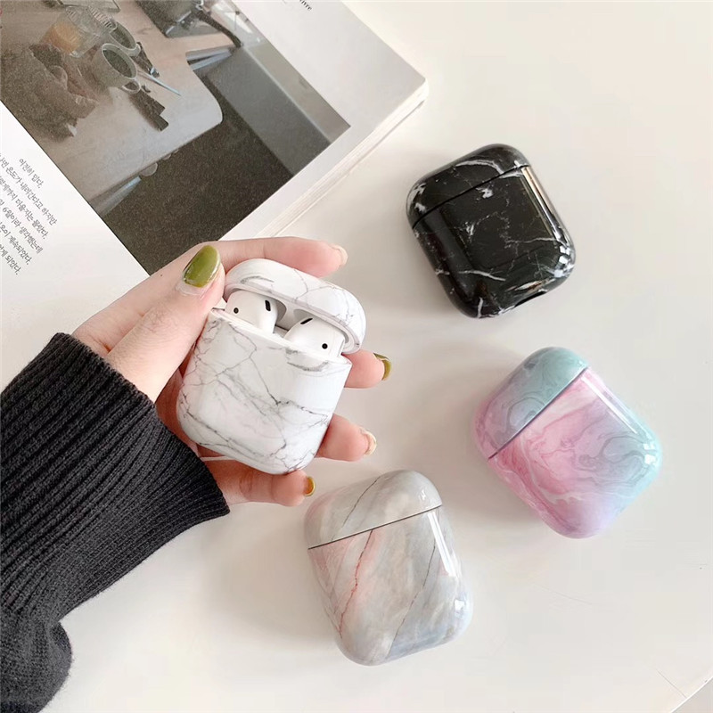 Travel Marble Pattern Hard PC Headphone Protective Case For Airpods Wireless Earphone Classic Organizer Shockproof  Accessories