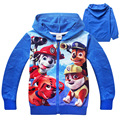 2016 New Paw Fashion Spring and Autumn Cartoon Ziper Sweatshirts Girls Boys Clothing Cotton Kids Casual Hoodies for 3-8 Years