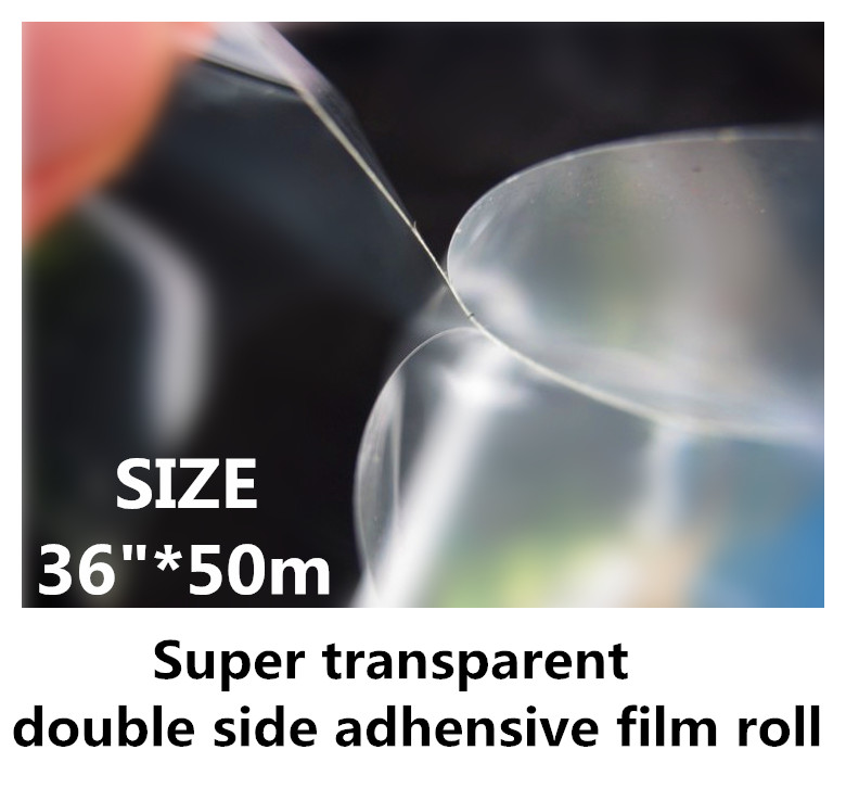100mic Super Transparent Double Side Adhesive 36in Film roll for 3D Grating