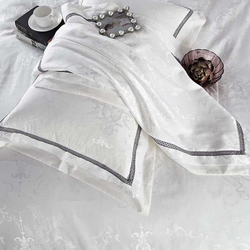 Zestaw pościeli tekstylia domowe luksusowe biały żakardowe satyna kołdra pokrywa zestaw król królowa 4pc jedwab/bawełna pościel łóżko pościel poszewki na poduszki w Zestawy pościeli od Dom i ogród na  Grupa 3
