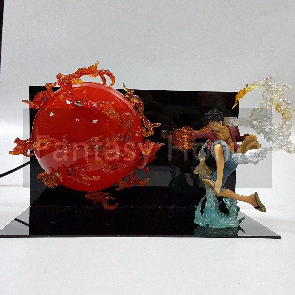 Une Pièce Figurine Luffy Boule De Feu BRICOLAGE Affichage Jouet PVC Figurine Monobloc Singe D Luffy + Boule + support (Feu) DIY47