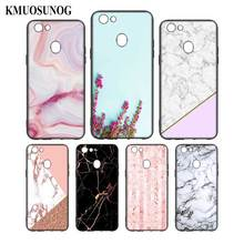 Silicone Phone Bag For OPPO F5 F7 F9 A5 A7 R9S R15 R17 Black Soft Case Chic Marble  Style