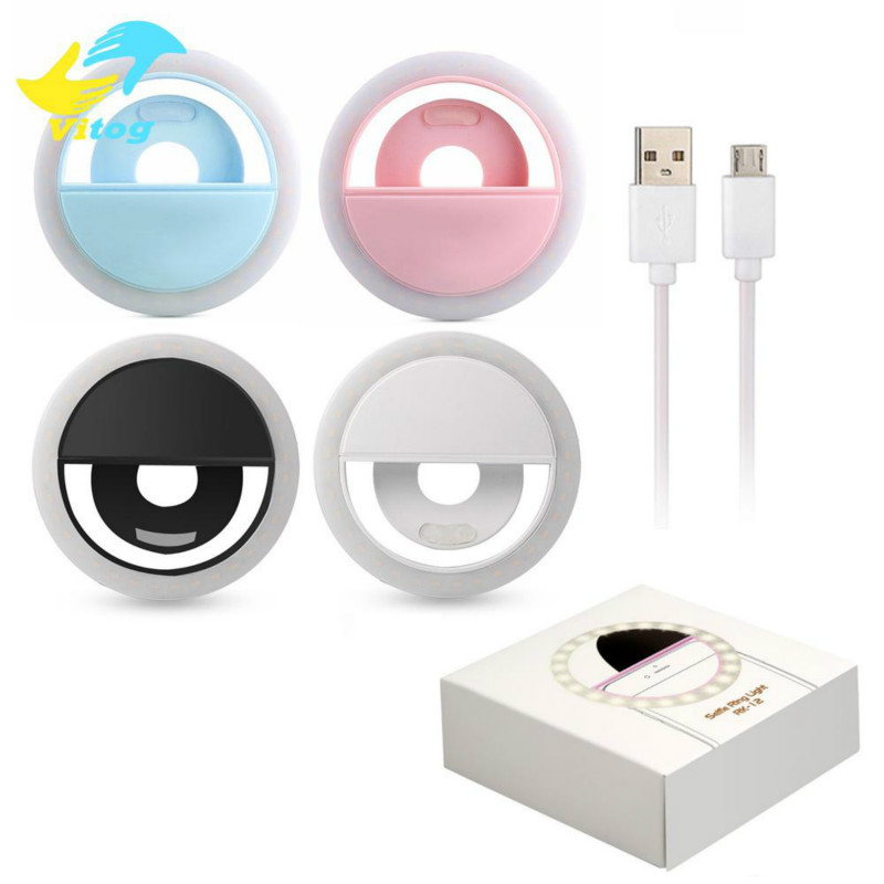 Universal Selfie LED Ring Flash Light Portable Mobile Phone 36 LEDS Selfie Lamp Luminous Ring Clip F