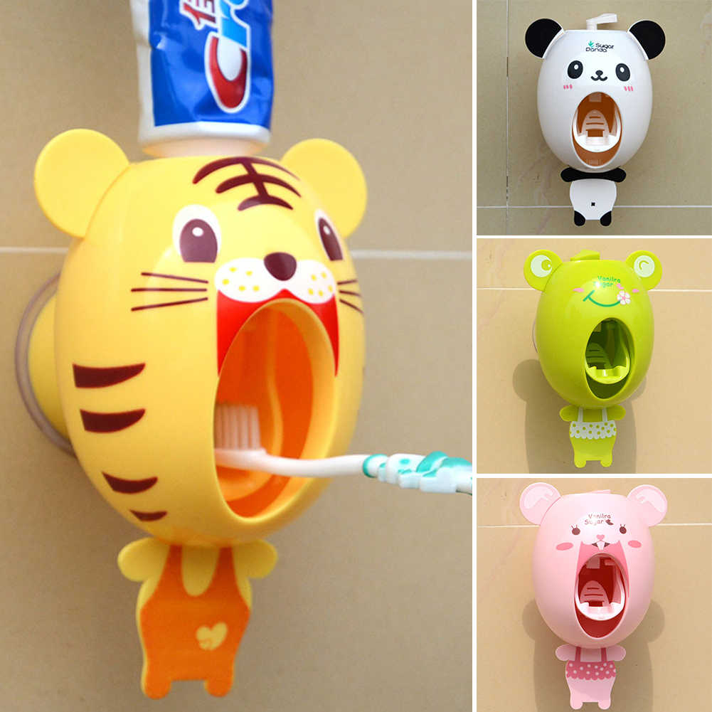Practical Strong Suction Sucker Funny Cartoon Style Bathroom Household Toothbrush Holder Children Automatic Toothpaste Dispenser