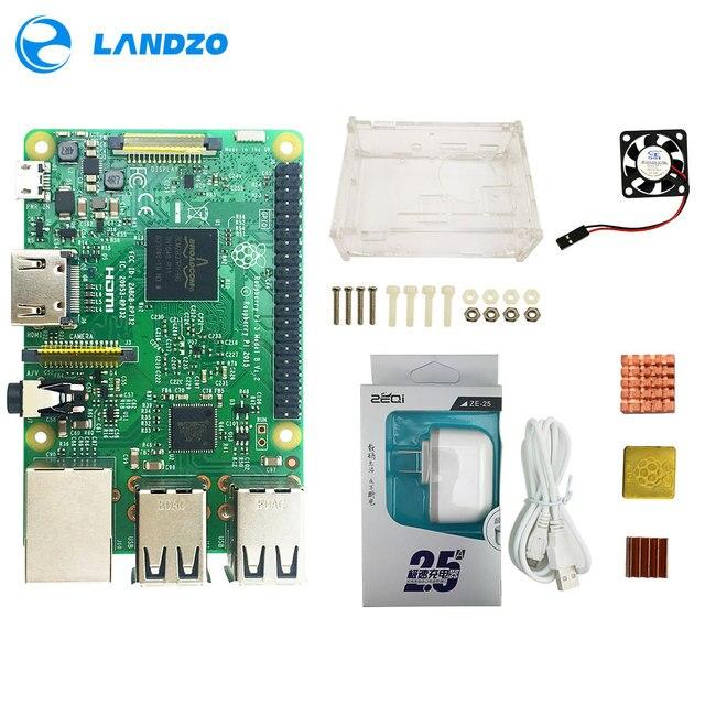 פטל Pi 3 דגם B starter kit pi 3 לוח/pi 3 מקרה/אמריקאי סטנדרטי אספקת חשמל /חום כיור