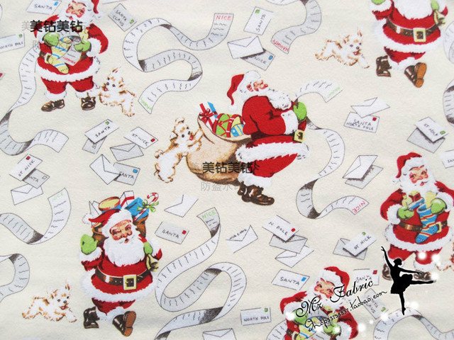 130100cm red santa claus christmas light yellow cotton fleece fabric for christmas day decoration