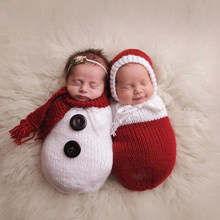 2019 Newborn Photography Props Wraps Christmas snowman Bebe Crochet Knitted Sleeping Bag With Scarf/Hat Pictures Costumes(China)