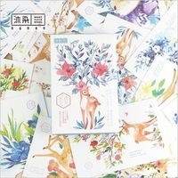 30Pcs Pack Giraffe Deer Blossoming Flowers Plants Postcard Greeting Card Envelope Gift Birthday Card Message Card