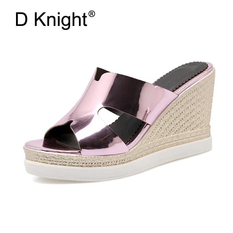 New Women Casual Platform Wedge Slippers Fashion Open Toe High Heels Ladies Slides Plus Size Pink Summer Sandals Shoes For Woman