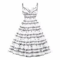 2017 New Plus Size Musical Note Print Women Vintage Retro Midi Dress Sleeveless White Female Casual