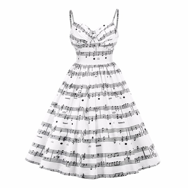 48fbb31bd3 US $15.85 23% OFF|2019 New Plus Size Musical Note Print Women Vintage Retro  Midi Dress Sleeveless White Female Casual Music Swing Dresses -in Dresses  ...