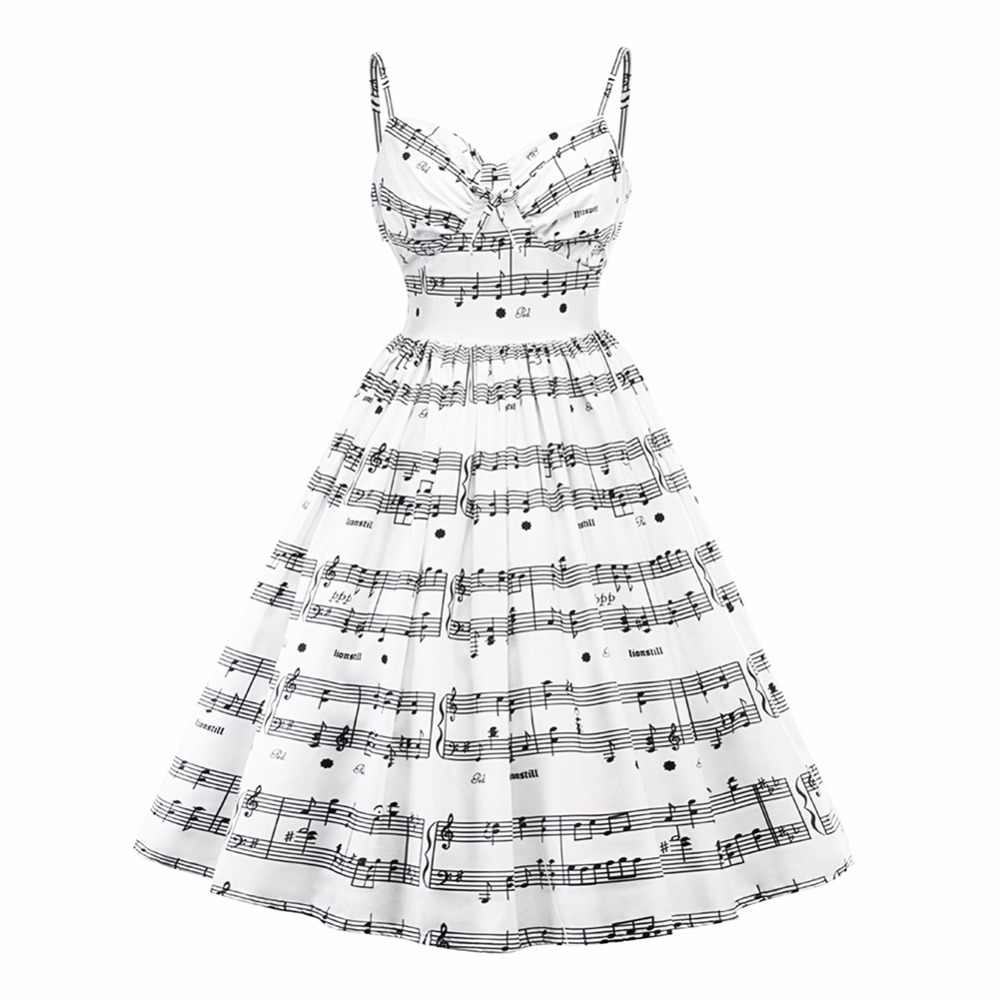 fdde01c12f2 2019 New Plus Size Musical Note Print Women Vintage Retro Midi Dress  Sleeveless White Female Casual