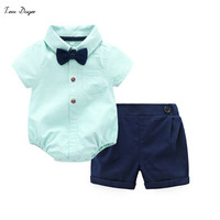 Tem Doger Baby Boys Gentleman Clothes Suit Long Sleeve Cotton Bowtie Rompers Shorts 2 Pcs Toddler