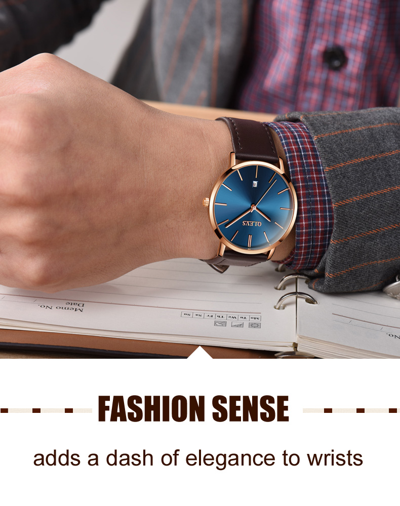 Men luxury brand quartz watches leather strap minimalist ultra-thin waterproof watch fashion wrist watch with high quality 2