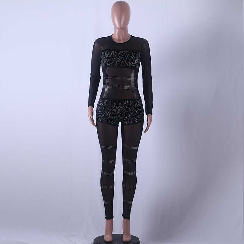 8281a3b5258e ... Fashion See Through Rhinestone Pattern Mesh Jumpsuit Nightclub Long  Sleeve Black Sexy Rompers Womens Jumpsuit Patchwork ...