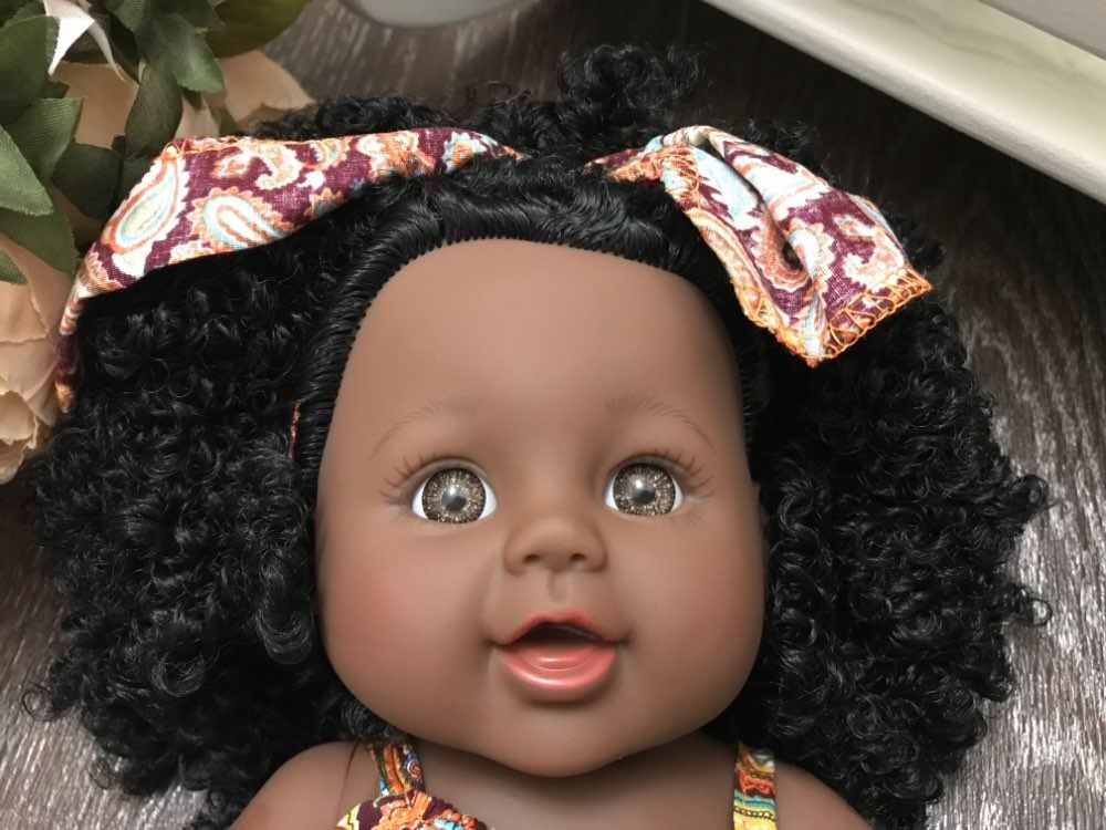 Afro bunny! Puppe reborn spielzeug pop 30cm echt baby puppe reborn lebendig poupee vinyl silikon puppen für mädchen Afrikanische kleinkind
