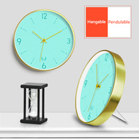 12 Inches Metal Mute Round Wall Clock Nordic Simple Picture Living Room Personalized Creative Design Electronic Clock Home Decor