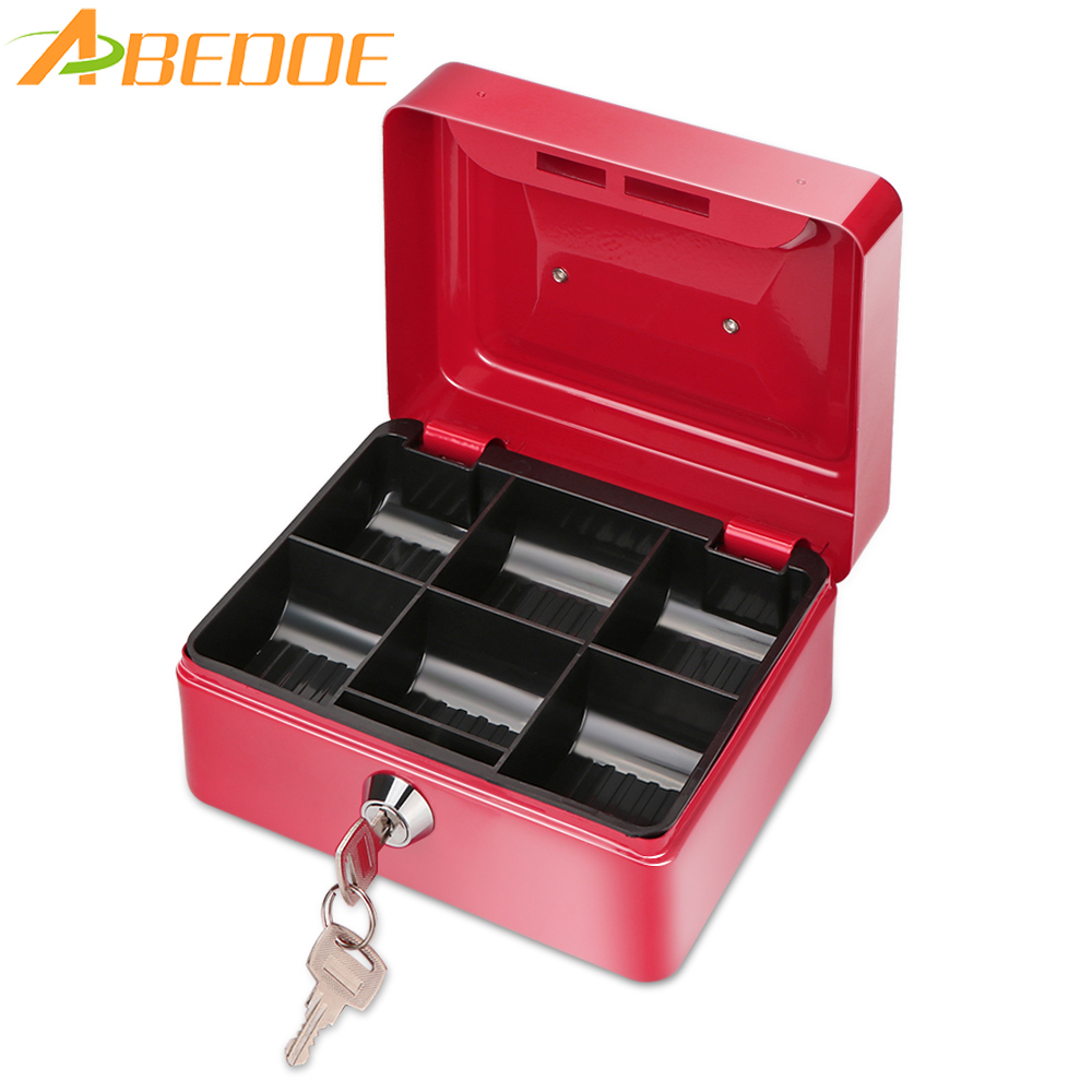 Abedoe metal money coin box cash safe box piggy bank with for Home money box