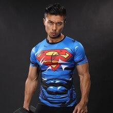 Супермен 3D печатных Футболки Для мужчин сжатия Рубашки короткий рукав забавные Косплэй костюм Фитнес Для тела здания мужской Кроссфит Топы