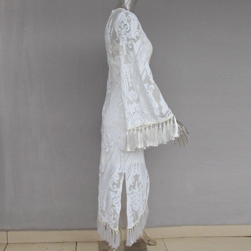 À Voir Sheer Cou Tenue Broderie O Manches Élégantes Gland Femmes Fête Robe De Robes Célébrité Longues Soirée Travers xwqIfBB
