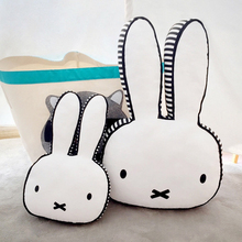 Ins hot Black and White Rabbit Pillow Baby bed decor bunny face Plush Cushion Home Sofa Decorate bunny head throw pillow