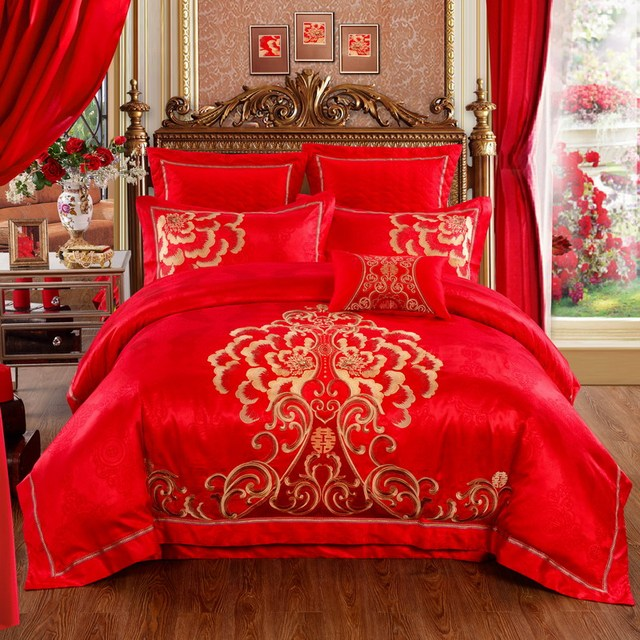 9 Designs Red Wedding Cotton+Silk Bedding Set Luxury Satin Duvet Cover Bed  Linen Bed