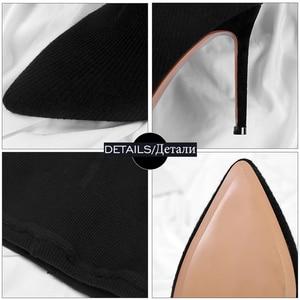 Image 4 - Wetkiss sexy moda feminina leggings botas de estiramento calças femininas sapatos stiletto calcanhar meia botas dois em um calças botas