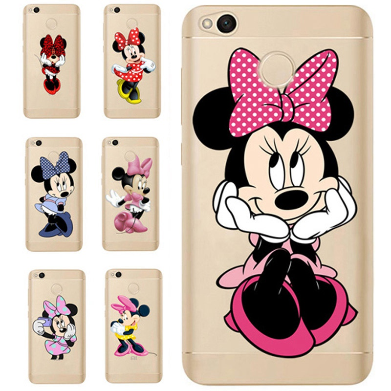 For <font><b>Xiaomi</b></font> Redmi 4X Note 4 4A 3 Cute TPU Colorful <font><b>Mickey</b></font> Minnie Painted Design Cover Case <font><b>Fundas</b></font> For <font><b>Xiaomi</b></font> <font><b>Mi</b></font> <font><b>A1</b></font> Note 4 ProD312 image