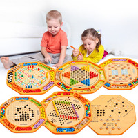 1set Children Wooden Board Game Multifunction Twelve in one Chess Children's Wooden Toys Flying Chess Checkers Backgammon