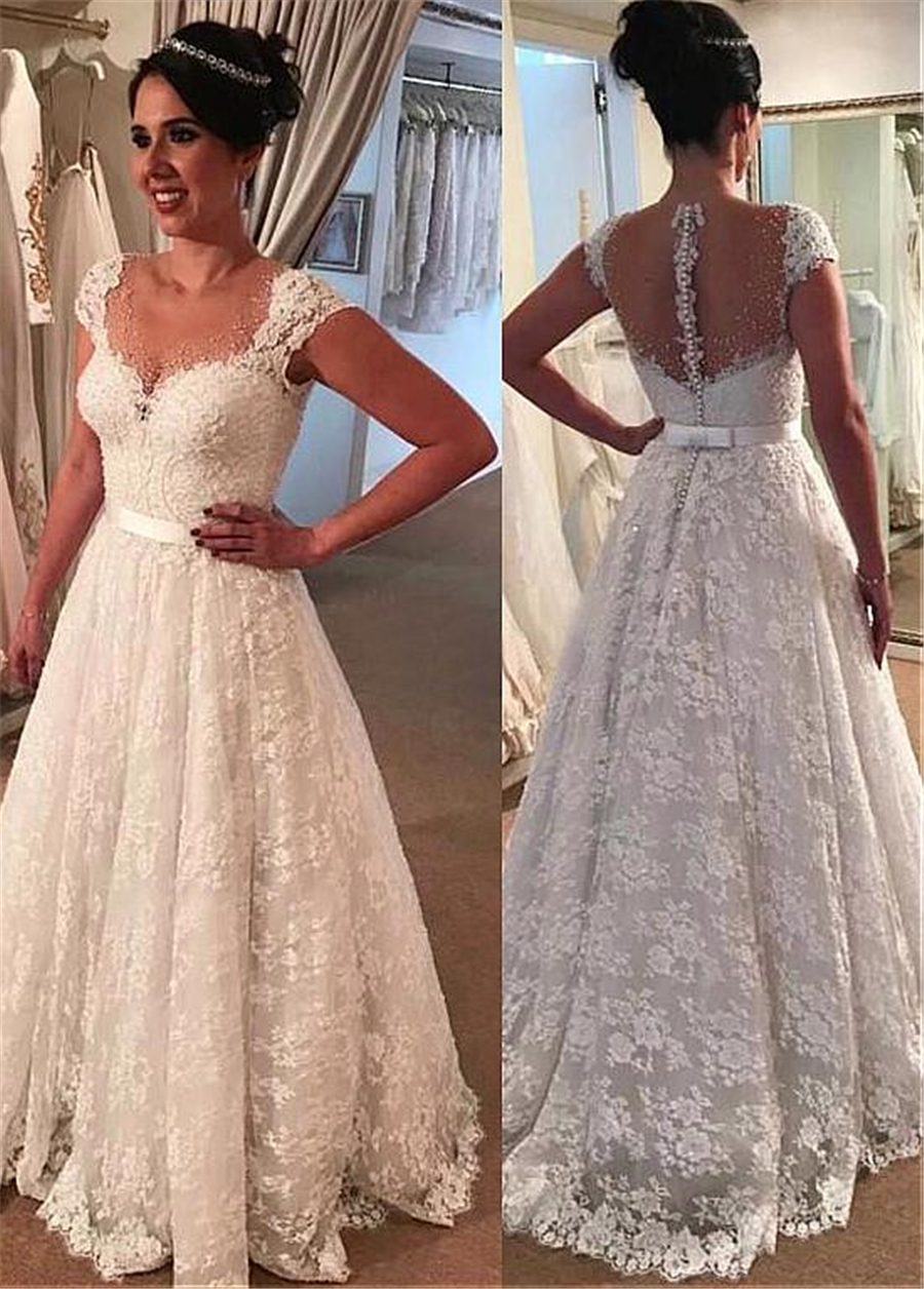 Gorgeous Tulle & Lace Jewel Neckline A-line Wedding Dress With Lace Appliques & Beadings & Belt Bridal Dresses Lace