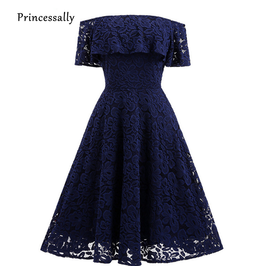 Robe De Soriee New Navy Blue Lace Bridesmaid Dresses Sexy Boat Neck Short Sleeve Wine Red Black Purple Formal Graduation Gown